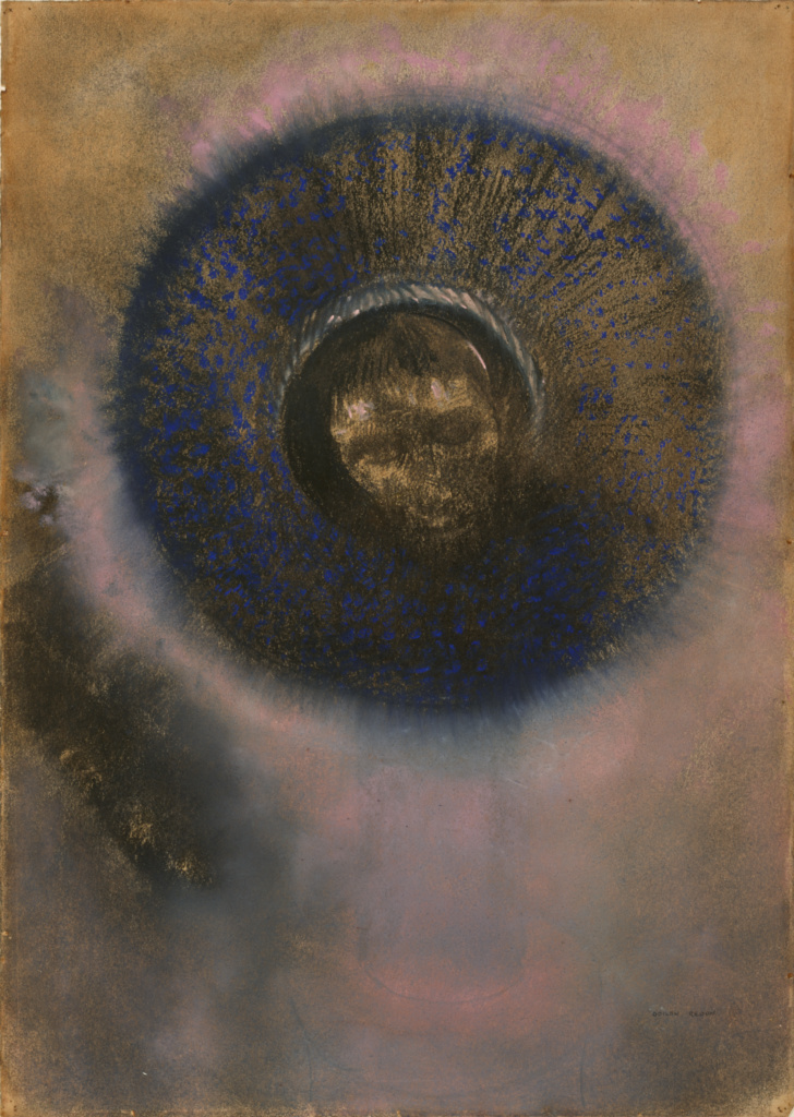Head within an Aureole; Odilon Redon (French, 1840 - 1916); about 1894–1895; Charcoal and pastel on brown paper; 52 × 36 cm (20 1/2 × 14 3/16 in.); 2016.10; Rights Statement: No Copyright - United States