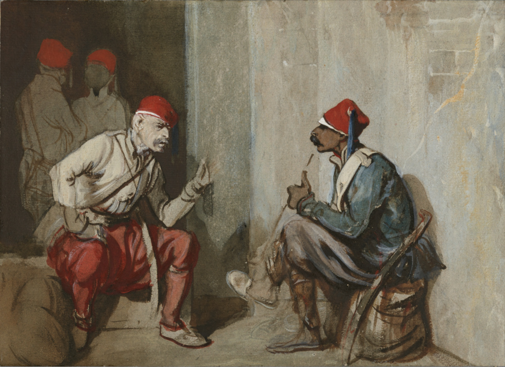 Turkish Guardsmen; Alexandre Gabriel Decamps (French, 1803 - 1860); 1841; Brown wash, watercolor and bodycolor on grey paper; 24 × 33 cm (9 7/16 × 13 in.); 2016.15; Rights Statement: No Copyright - United States