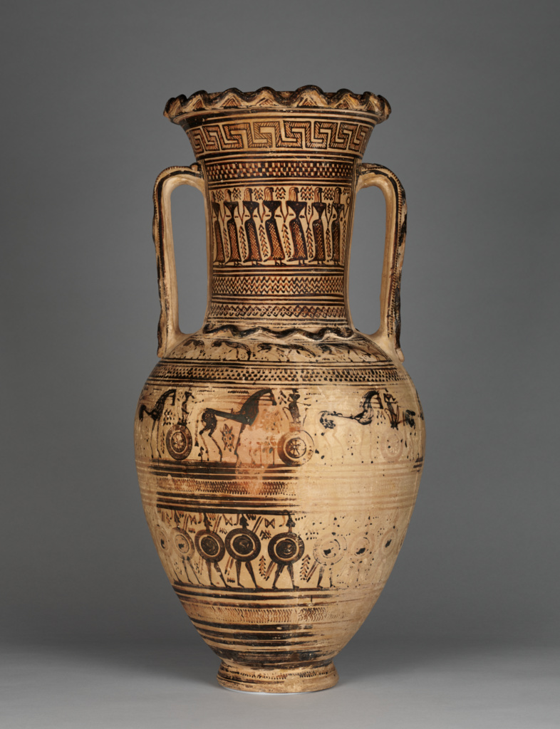 Funerary Amphora with Scenes of Mourning; Attributed to the Philadelphia Painter; 720–700 B.C.; Terracotta; 70.2 × 33 cm (27 5/8 × 13 in.); 2016.35; Purchased in part with funds provided by the Villa Council; Rights Statement: No Copyright - United States