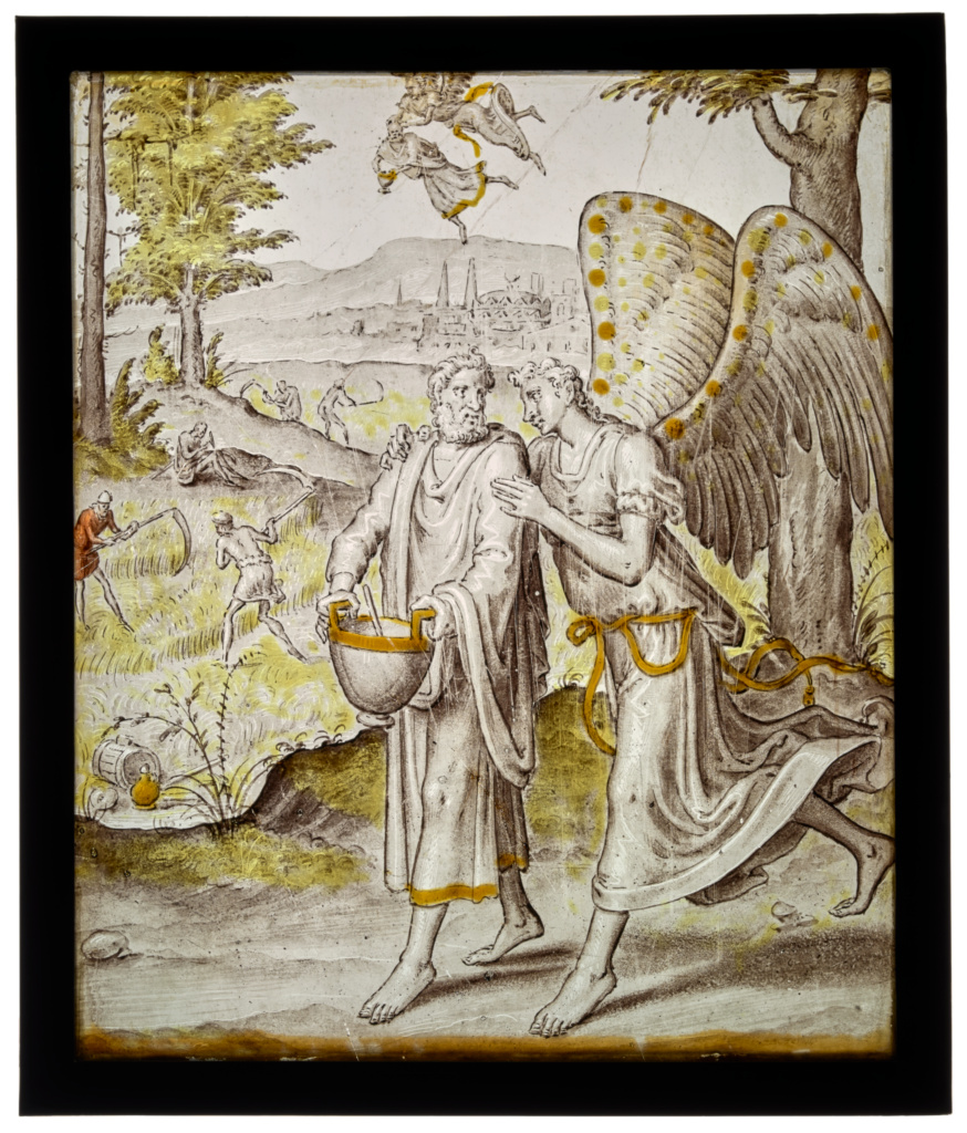 The Prophet Habakkuk and the Angel; Wouter Crabeth (Netherlandish, active 1559, died 1589); about 1565; Colorless glass, vitreous paint, silver stain, and sanguine; 25.8 × 21.7 cm (10 3/16 × 8 9/16 in.); 2016.56; Gift of John David Hodder, in memory of his grandparents, Renato Federico Violi Gallo and Rachel Veissid-Sidelio Gallo; Rights Statement: No Copyright - United States