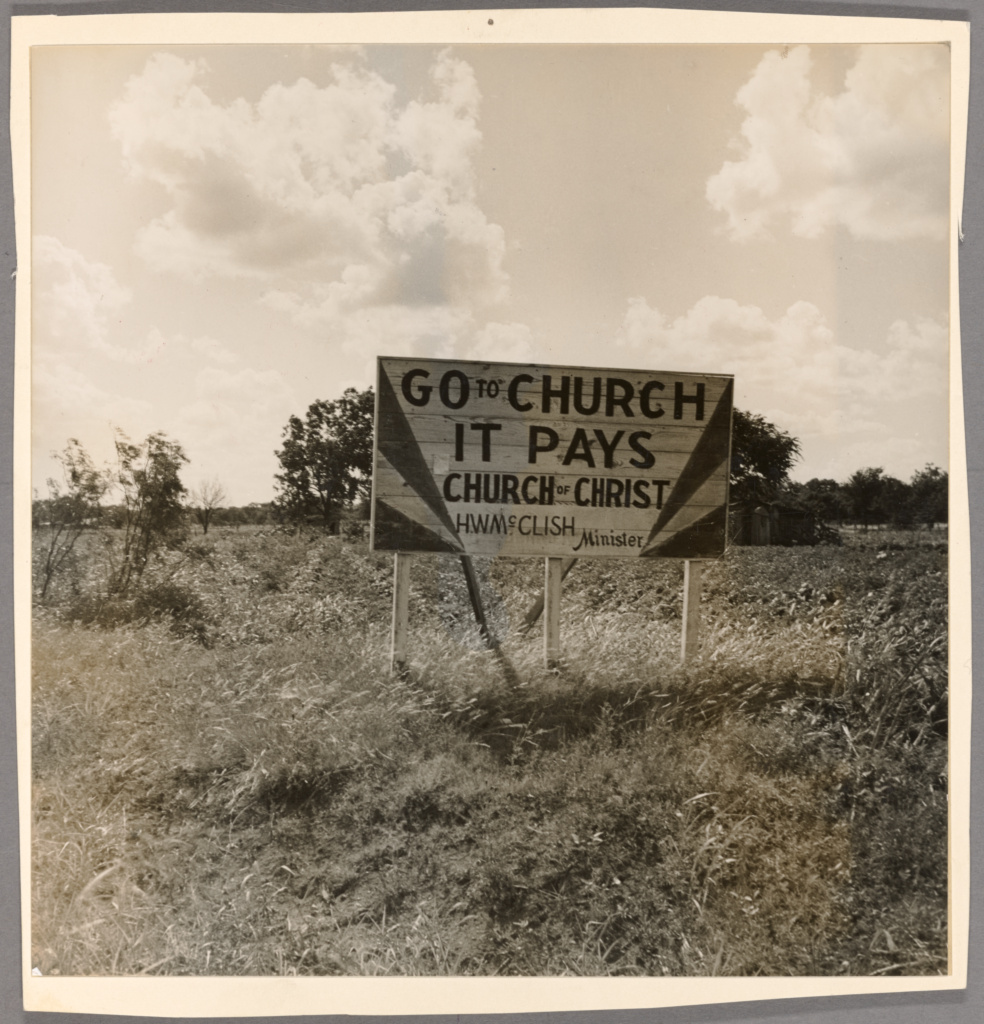 Georgia road sign; Dorothea Lange (American, 1895 - 1965); June 1937; Gelatin silver print; 19.3 × 19 cm (7 5/8 × 7 1/2 in.); 2016.150.6; Gift of Bruce Berman and Lea Russo; Rights Statement: No Copyright - United States