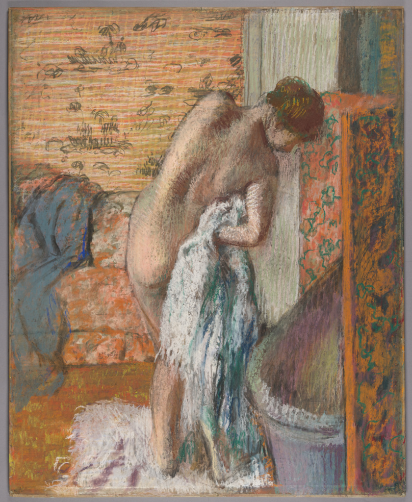 Après le bain (Femme s'essuyant); Edgar Degas (French, 1834 - 1917); about 1886; Pastel on paper laid down on board; 72 × 58 cm (28 3/8 × 22 13/16 in.); 2017.75.1; Rights Statement: No Copyright - United States
