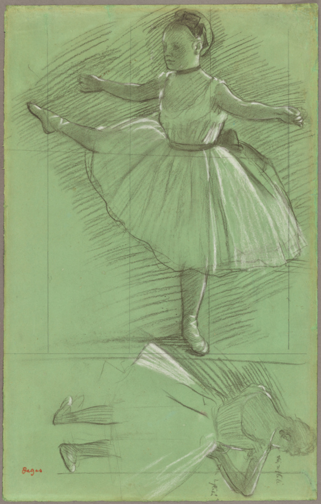 Two Studies of Dancers; Edgar Degas (French, 1834 - 1917); about 1873; Black chalk heightened with white chalk on green paper; 46.8 × 29.5 cm (18 7/16 × 11 5/8 in.); 2017.75.2; Rights Statement: No Copyright - United States
