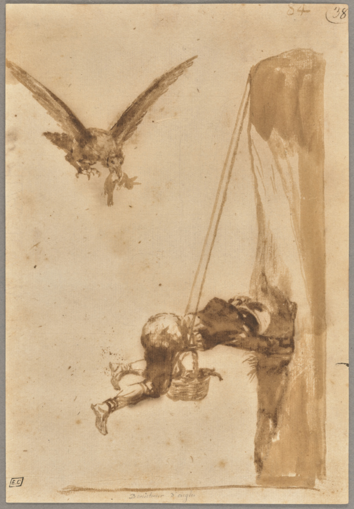 The Eagle Hunter; Francisco José de Goya y Lucientes (Francisco de Goya) (Spanish, 1746 - 1828); Spain; about 1812–1820; Brush and brown ink with brown wash on laid paper; 20 × 14 cm (7 7/8 × 5 1/2 in.); 2017.76; The J. Paul Getty Museum, Los Angeles; Rights Statement: No Copyright - United States