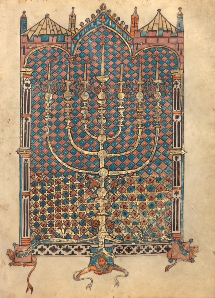 Menorah; Unknown, Elijah ben Meshallum (active 13th century); 1296; Tempera colors, gold, and ink; Leaf: 27.5 × 21 cm (10 13/16 × 8 1/4 in.); Ms. 116 (2018.43), fol. 226v; Acquired with the generous support of Jo Carole and Ronald S. Lauder; Rights Statement: No Copyright - United States