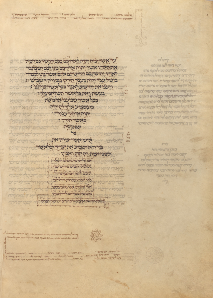 Text Page; Unknown, Elijah ben Meshallum (active 13th century), and Elijah ben Jehiel (active 13th century), Commentary by Rashi (French, 1040 - 1105); or Germany; 1296; Ink; Leaf: 27.5 × 21 cm (10 13/16 × 8 1/4 in.); Ms. 116 (2018.43), fol. 583v; The J. Paul Getty Museum, Los Angeles, Acquired with the generous support of Jo Carole and Ronald S. Lauder, Ms. 116, fol. 583v; Rights Statement: No Copyright - United States
