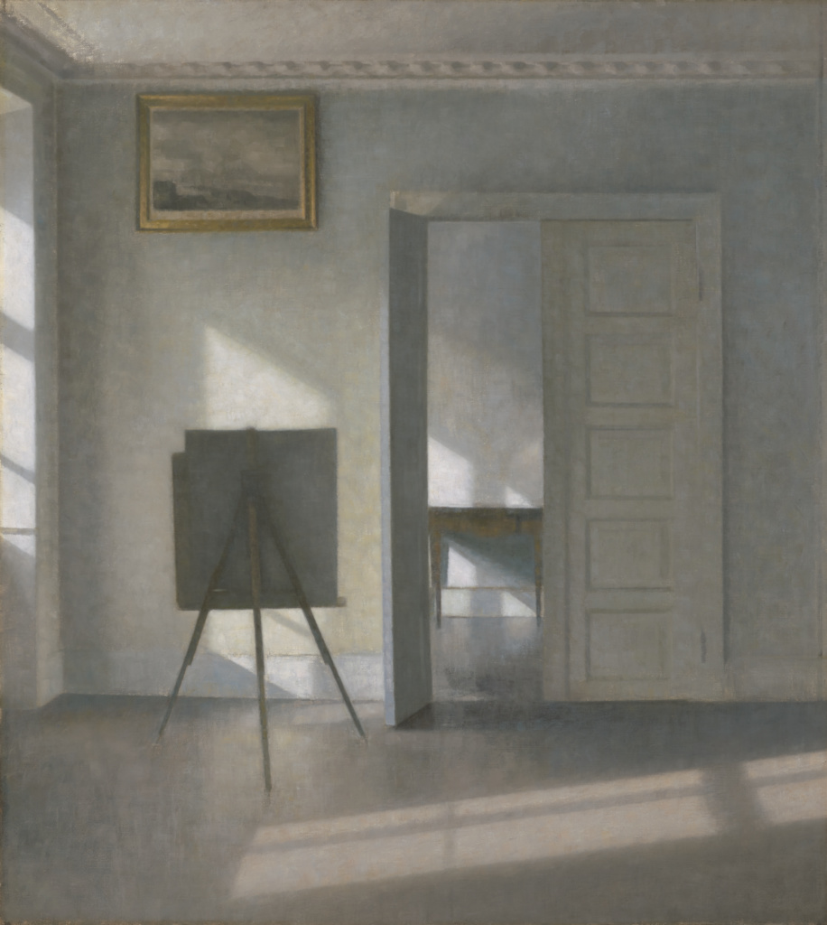 Interior with an Easel, Bredgade 25; Vilhelm Hammershøi (Danish, 1864 - 1916); 1912; Oil on canvas; 78.7 × 70.5 cm (31 × 27 3/4 in.); 2018.59; Rights Statement: No Copyright - United States