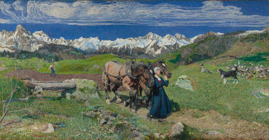 Spring in the Alps; Giovanni Segantini (Italian, 1858 - 1899); 1897; Oil on canvas; 116 × 227 cm (45 11/16 × 89 3/8 in.); 2019.3; Rights Statement: No Copyright - United States