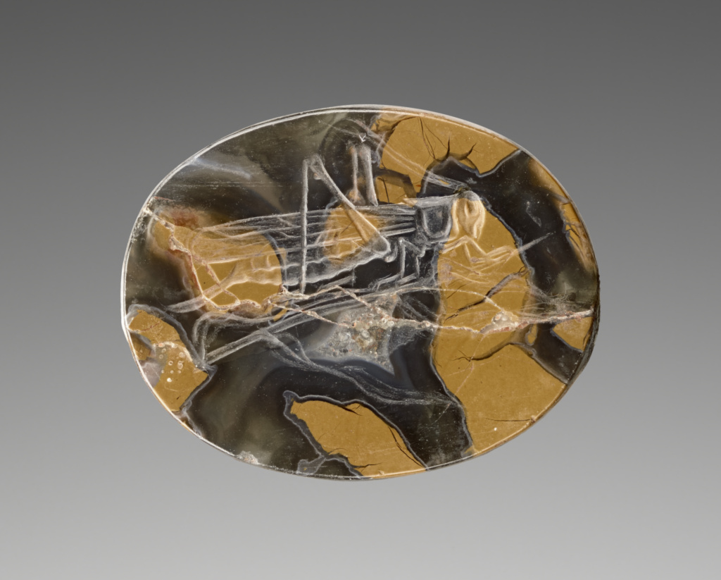 Engraved Scaraboid with a Grasshopper; Unknown; 425–400 B.C.; Mottled yellow jasper; 2.1 × 1.8 × 0.8 cm (13/16 × 11/16 × 5/16 in.); 2019.13.4; Rights Statement: No Copyright - United States