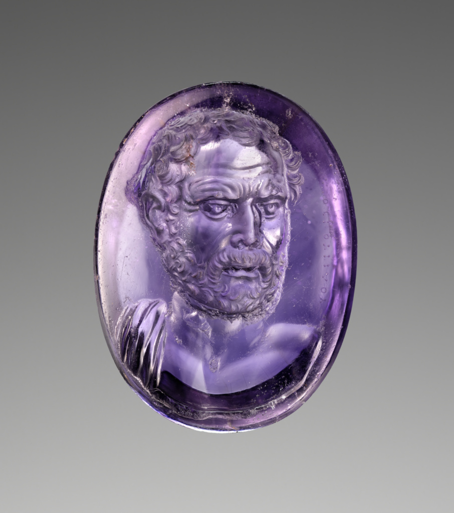 Intaglio with Bust of Demosthenes; Dioskourides (Greek, active late 1st century B.C.); about 25 B.C.; Intaglio: amethyst; antique mount: gilt silver; 2 × 1.4 × 5 cm (13/16 × 9/16 × 1 15/16 in.); 2019.13.15; Rights Statement: No Copyright - United States