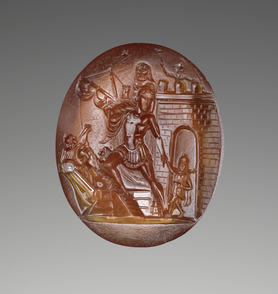 Intaglio with Scene of Aeneas and his Family Escaping from Troy; Unknown; about 20 B.C.; Cornelian; 2.2 × 1.8 × 0.6 cm (7/8 × 11/16 × 1/4 in.); 2019.13.14; Rights Statement: No Copyright - United States