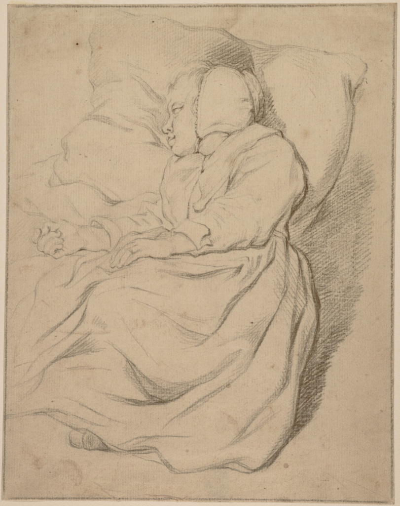 Sleeping Girl; Gerbrand van den Eeckhout (Dutch, 1621 - 1674); Netherlands; about 1652; Black chalk on laid paper; 23.5 × 18.4 cm (9 1/4 × 7 1/4 in.); 2020.36; The J. Paul Getty Museum, Los Angeles; Rights Statement: No Copyright - United States