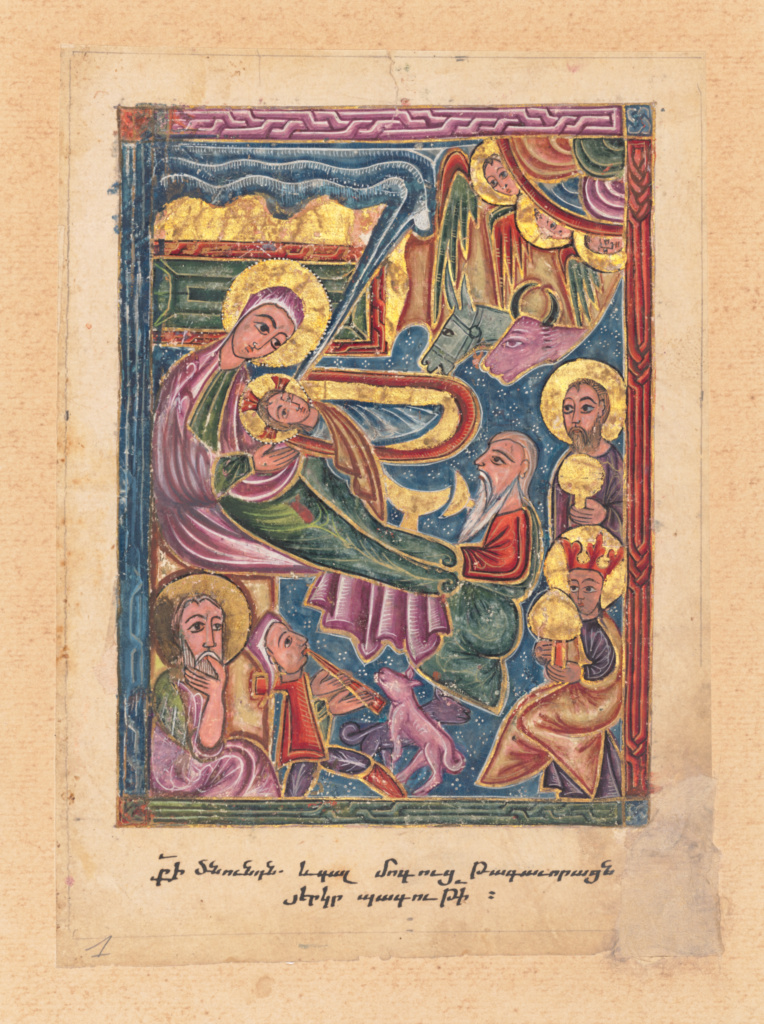 The Nativity with the Adoration of the Shepherds and Magi; Mesrop of Khizan (Armenian, active 1605 - 1651); Isfahan, Persia; 1615; Tempera colors and gold; Leaf: 23 × 16 cm (9 1/16 × 6 5/16 in.); Ms. 118 (2019.129); The J. Paul Getty Museum, Los Angeles, Ms. 118; Rights Statement: No Copyright - United States