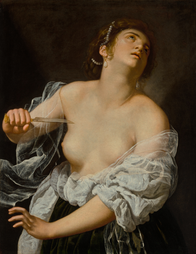 Lucretia; Artemisia Gentileschi (Italian, 1593 - after 1654); Italy; about 1627; Oil on canvas; 92.9 × 72.7 cm (36 9/16 × 28 5/8 in.); 2021.14; The J. Paul Getty Museum, Los Angeles; Rights Statement: No Copyright - United States